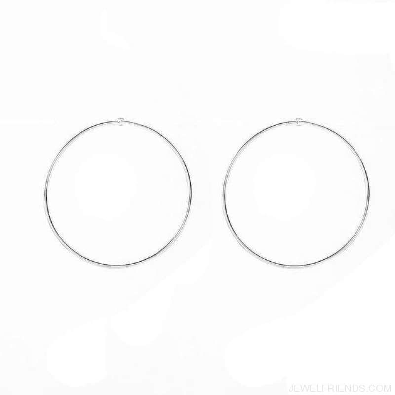 Simple Korean Big Round Circle Hoop Earrings - Silver - Custom Made | Free Shipping