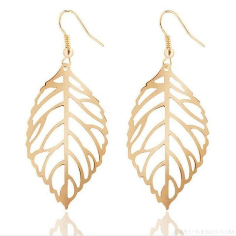 Simple Leaves Jewelry Set - Gold Earrings - Custom Made | Free Shipping