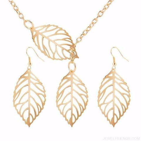 Simple Leaves Jewelry Set - Gold Sets - Custom Made | Free Shipping