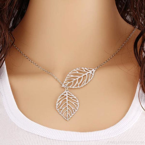 Simple Leaves Jewelry Set - Silver Necklace - Custom Made | Free Shipping