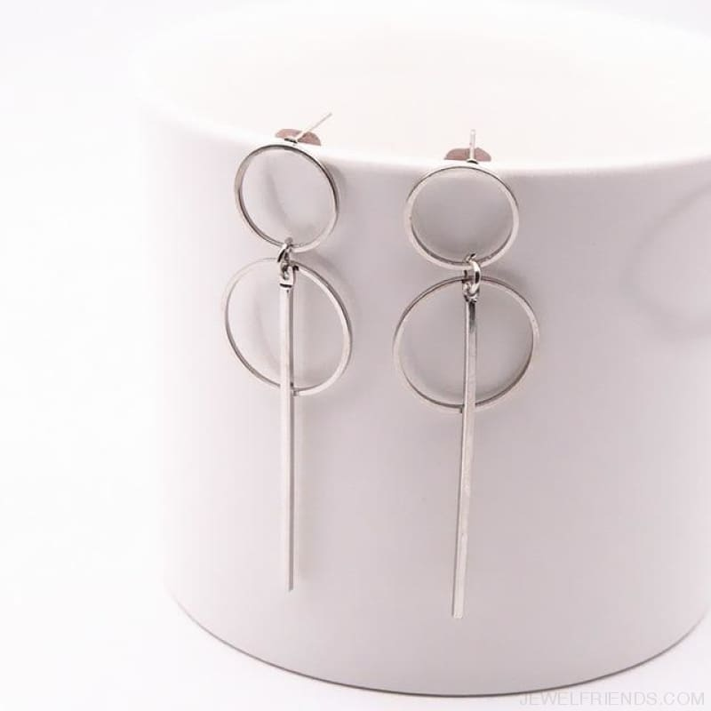 Simple Long Section Circle Drop Earrings - E0204Yinse - Custom Made | Free Shipping