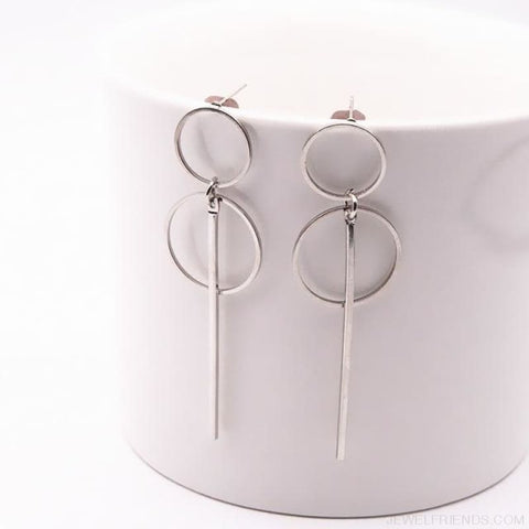 Image of Simple Long Section Circle Drop Earrings - E0204Yinse - Custom Made | Free Shipping