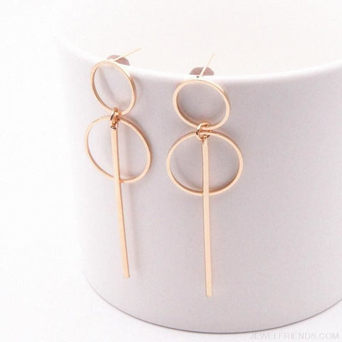 Image of Simple Long Section Circle Drop Earrings - Custom Made | Free Shipping