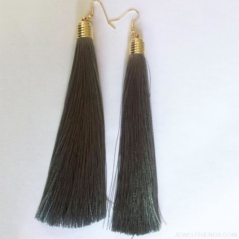 Simple Long Tassel Earrings Alloy Plating - Gray - Custom Made | Free Shipping