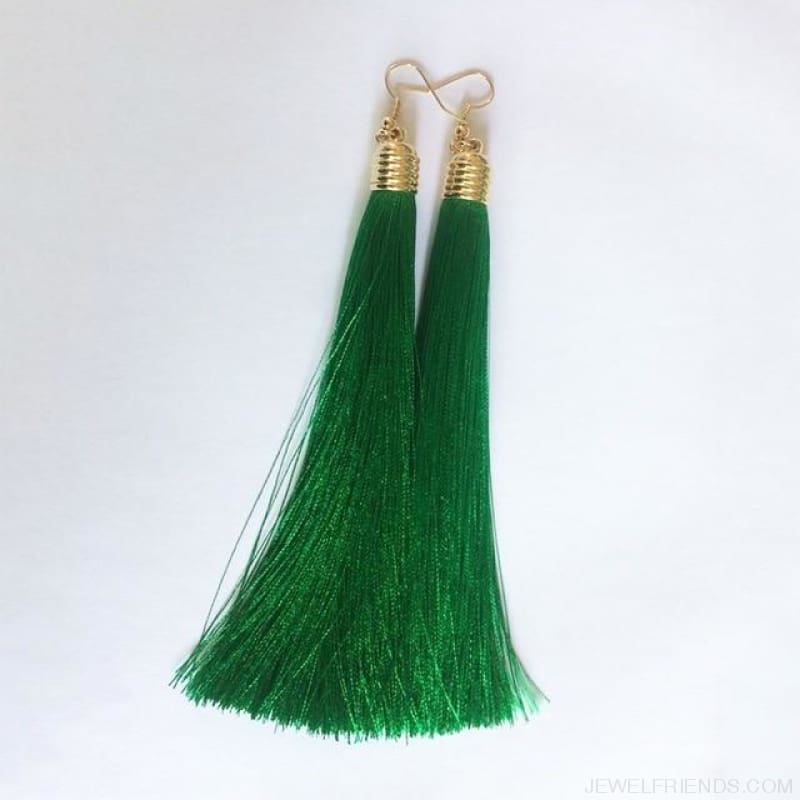 Simple Long Tassel Earrings Alloy Plating - Green - Custom Made | Free Shipping
