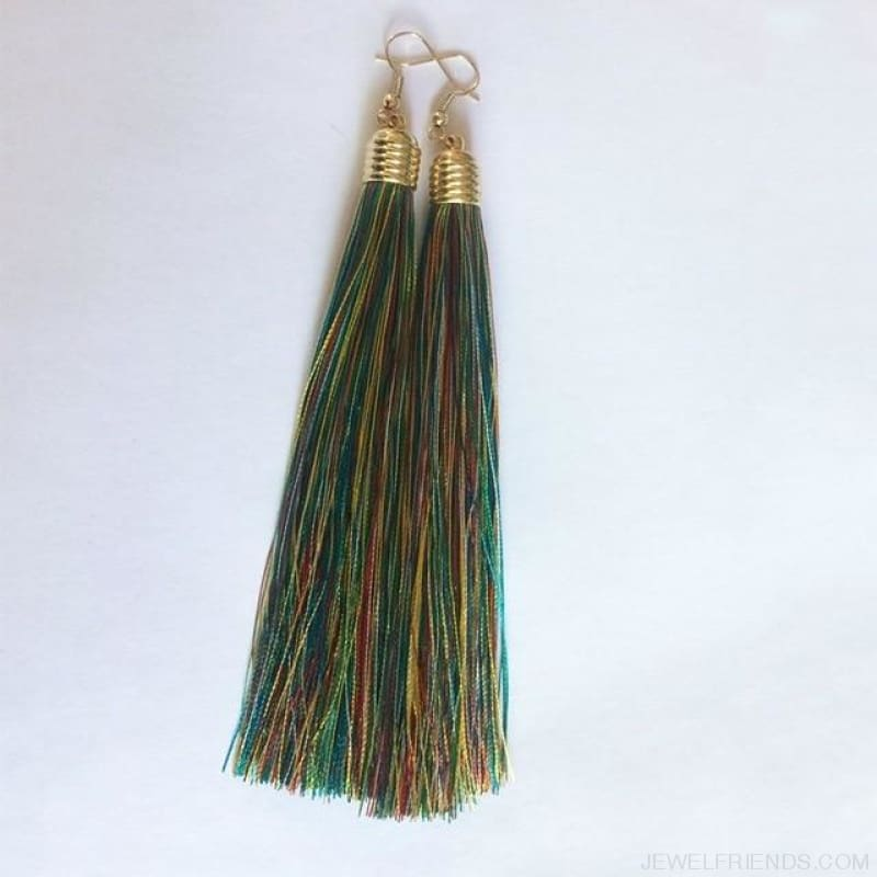 Simple Long Tassel Earrings Alloy Plating - Multicolor - Custom Made | Free Shipping