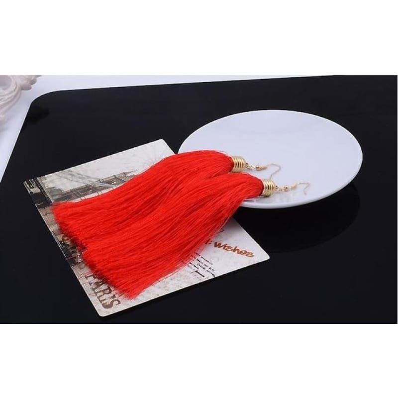 Simple Long Tassel Earrings Alloy Plating - Red - Custom Made | Free Shipping
