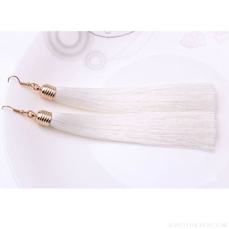 Simple Long Tassel Earrings Alloy Plating - White - Custom Made | Free Shipping