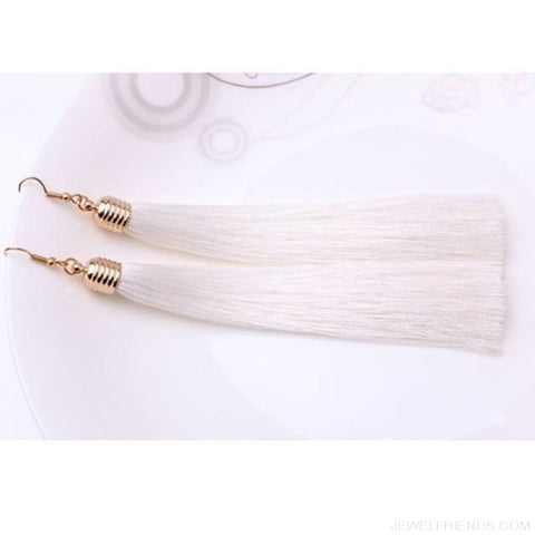 Image of Simple Long Tassel Earrings Alloy Plating - White - Custom Made | Free Shipping