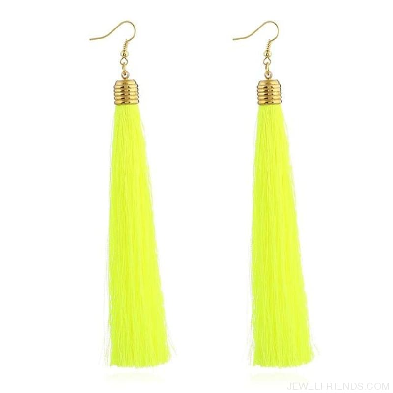 Simple Long Tassel Earrings Alloy Plating - Yingguanglv - Custom Made | Free Shipping