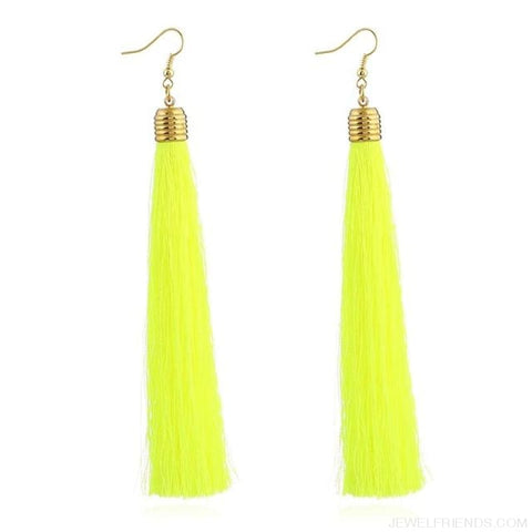 Image of Simple Long Tassel Earrings Alloy Plating - Yingguanglv - Custom Made | Free Shipping