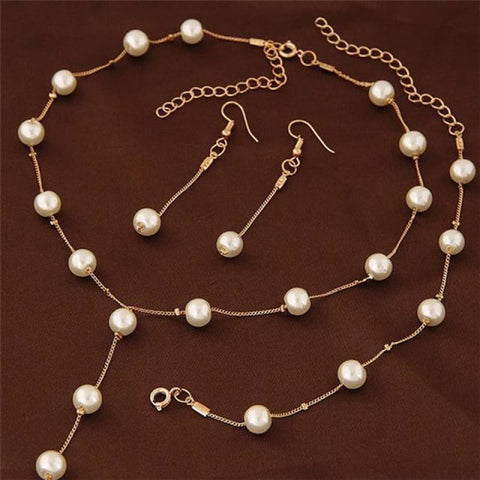 Image of Simple Pearl Chain Jewelry Set - Gold - Custom Made | Free Shipping