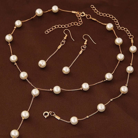 Image of Simple Pearl Chain Jewelry Set - Custom Made | Free Shipping