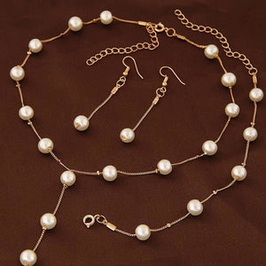 Simple Pearl Chain Jewelry Set - Custom Made | Free Shipping