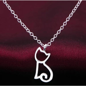 Simple Silver Plated Kitty Cat Necklace - Custom Made | Free Shipping