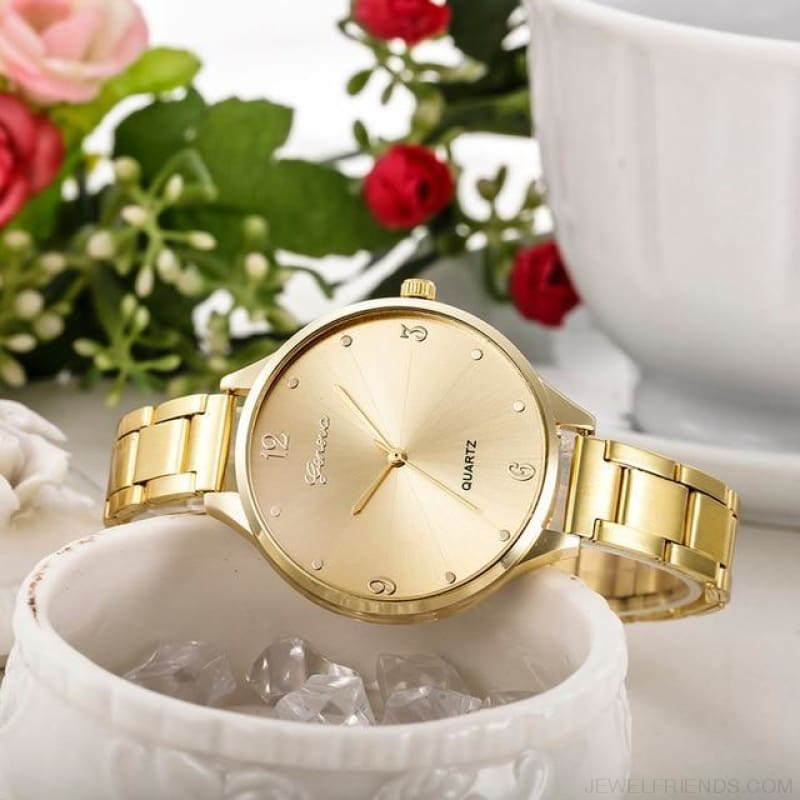 Simple Stainless Steel Quartz Watches - Gold - Custom Made | Free Shipping