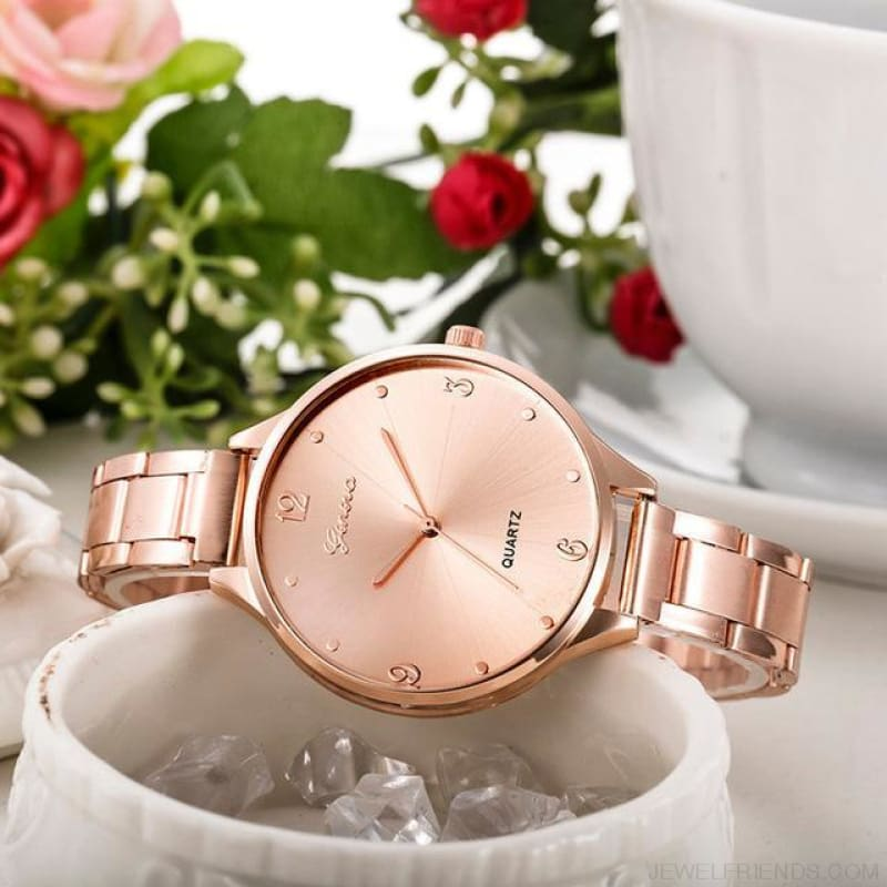 Simple Stainless Steel Quartz Watches - Rose Gold - Custom Made | Free Shipping