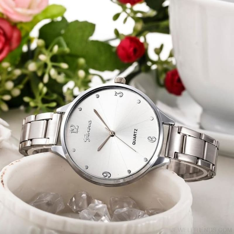 Simple Stainless Steel Quartz Watches - Silver - Custom Made | Free Shipping