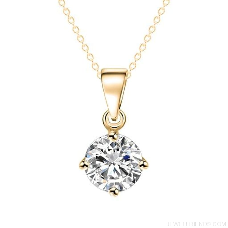 Simple Tiny Round Shape Cubic Zirconia Necklaces - Gold 32Oo15 - Custom Made | Free Shipping