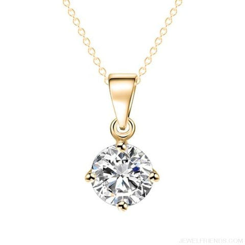 Image of Simple Tiny Round Shape Cubic Zirconia Necklaces - Gold 32Oo15 - Custom Made | Free Shipping