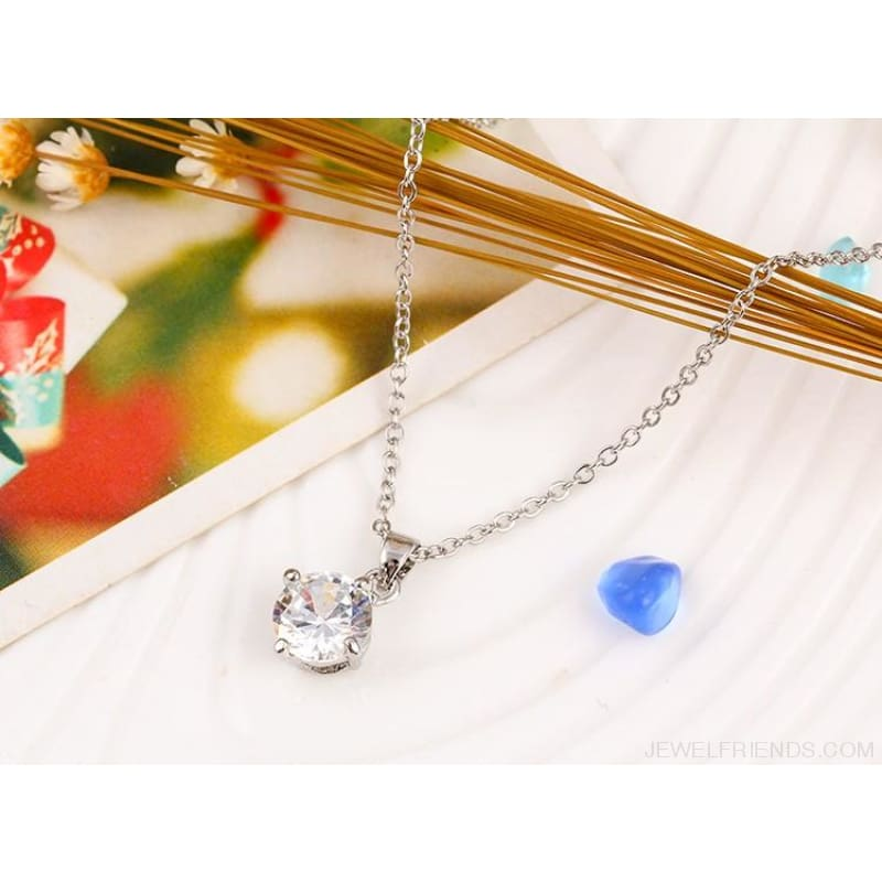 Simple Tiny Round Shape Cubic Zirconia Necklaces - Custom Made | Free Shipping