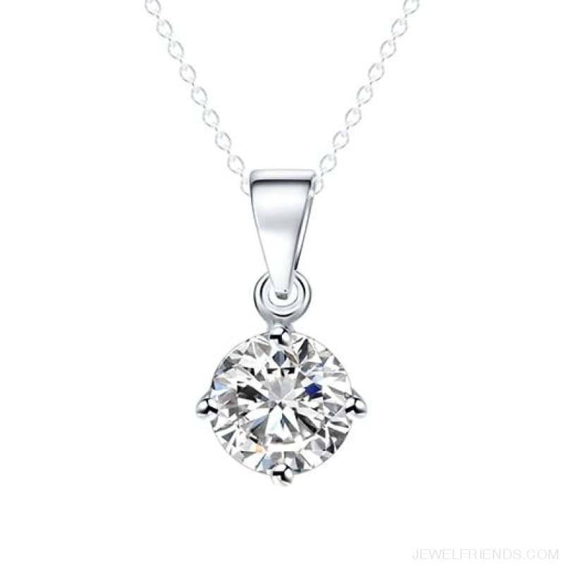 Simple Tiny Round Shape Cubic Zirconia Necklaces - Sliver 32Oo16 - Custom Made | Free Shipping