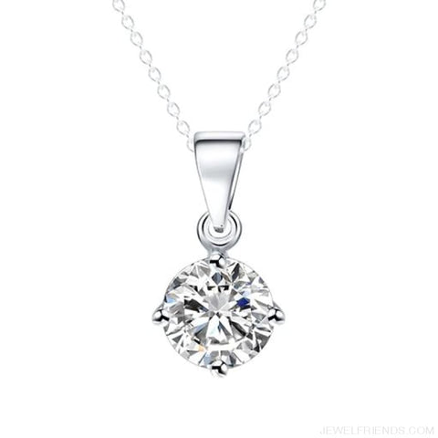 Image of Simple Tiny Round Shape Cubic Zirconia Necklaces - Sliver 32Oo16 - Custom Made | Free Shipping