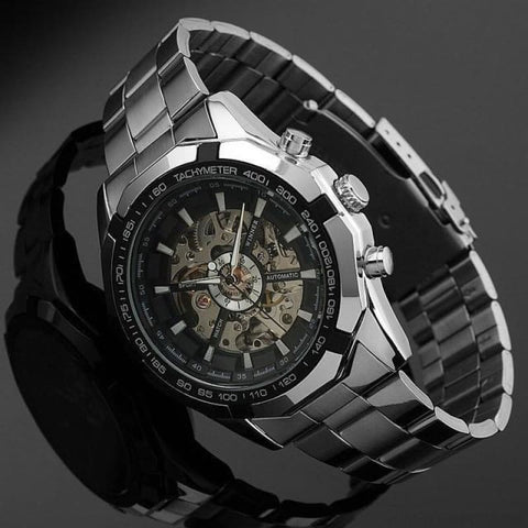 Skeleton Classic Sport Watch Glowing Pointer - Black Face - Custom Made | Free Shipping