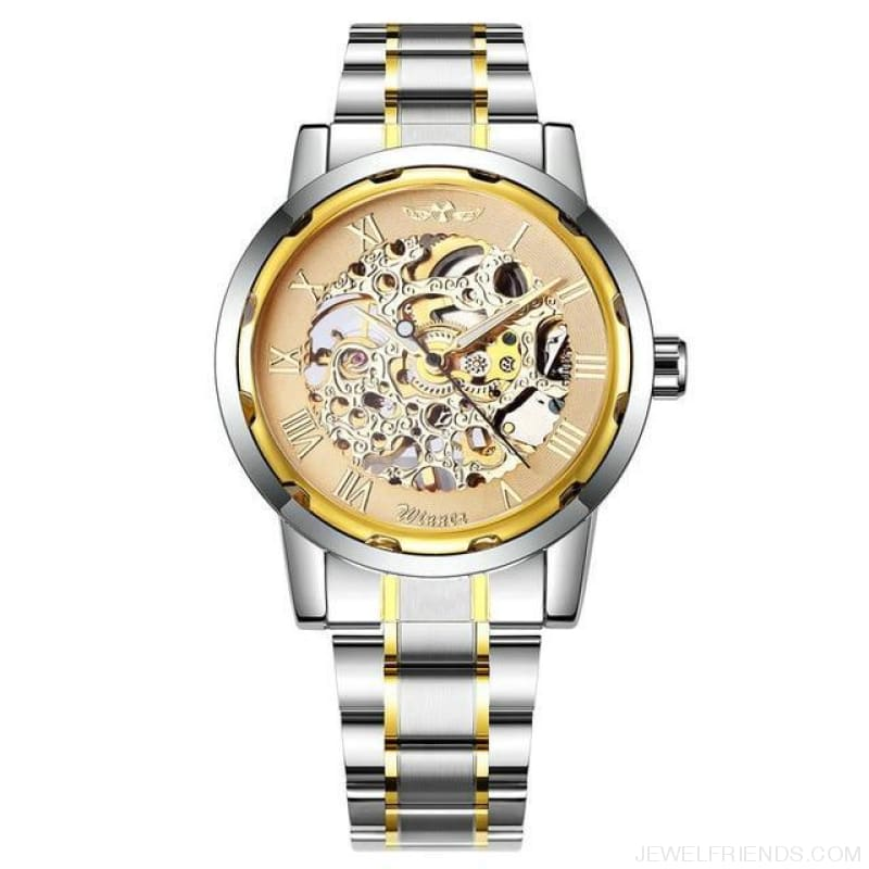 Skeleton Mechanical Watch Stainless Steel Strap 17 Colors - All Golden - Custom Made | Free Shipping