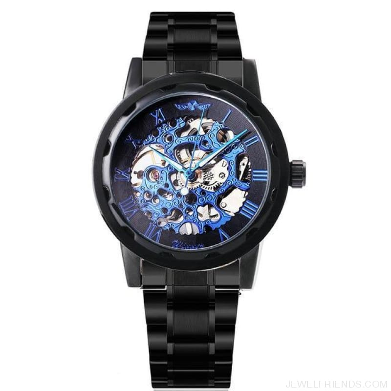 Skeleton Mechanical Watch Stainless Steel Strap 17 Colors - Black All Blue - Custom Made | Free Shipping