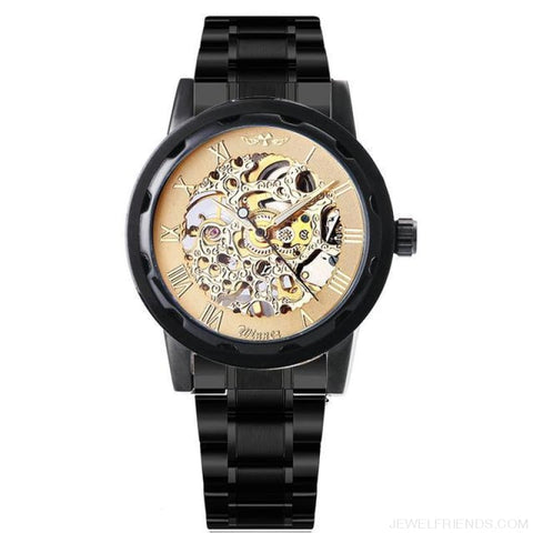 Image of Skeleton Mechanical Watch Stainless Steel Strap 17 Colors - Black All Golden - Custom Made | Free Shipping