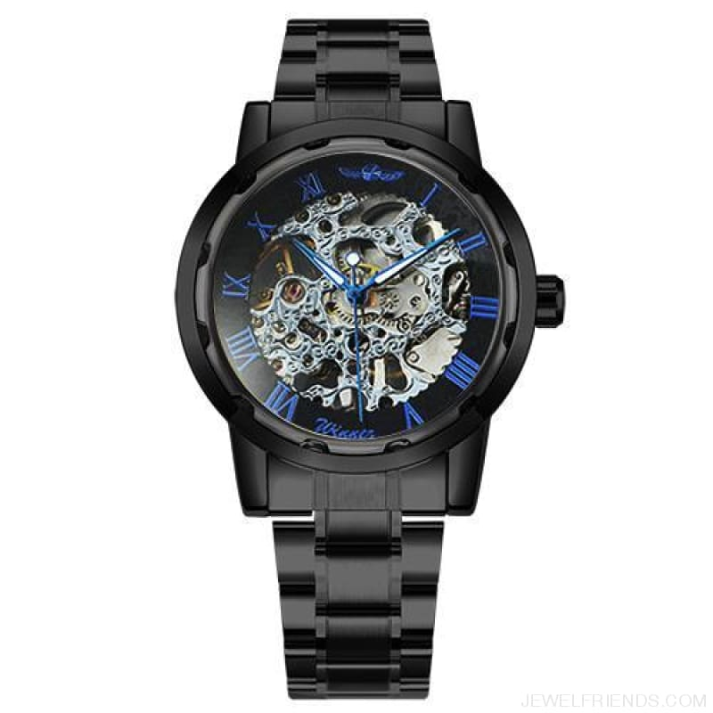 Skeleton Mechanical Watch Stainless Steel Strap 17 Colors - Black Blue Silver - Custom Made | Free Shipping