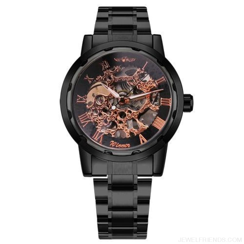 Skeleton Mechanical Watch Stainless Steel Strap 17 Colors - Black Copper - Custom Made | Free Shipping