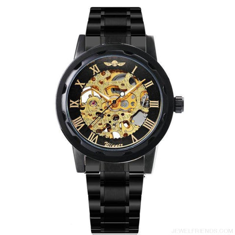 Skeleton Mechanical Watch Stainless Steel Strap 17 Colors - Black Black Golden - Custom Made | Free Shipping