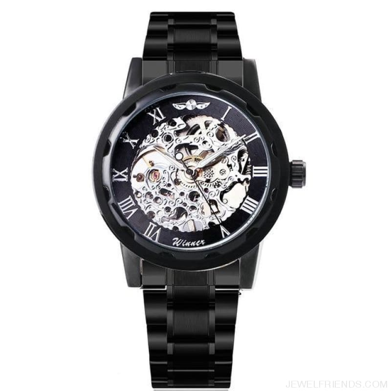 Skeleton Mechanical Watch Stainless Steel Strap 17 Colors - Black Silver - Custom Made | Free Shipping