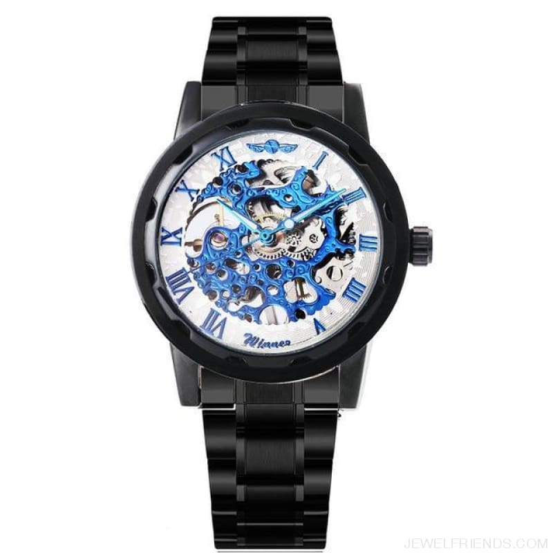 Skeleton Mechanical Watch Stainless Steel Strap 17 Colors - Black White Blue - Custom Made | Free Shipping
