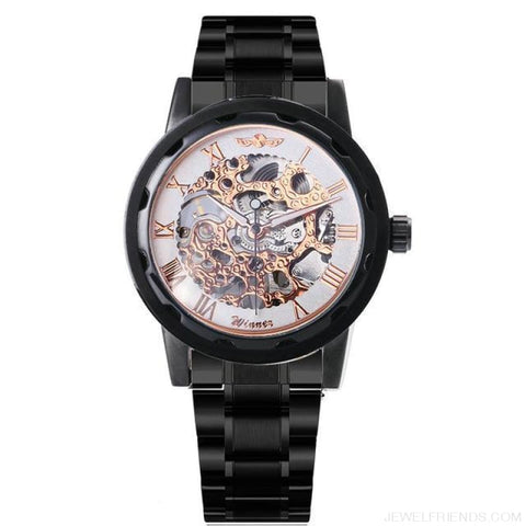 Skeleton Mechanical Watch Stainless Steel Strap 17 Colors - Black White Copper - Custom Made | Free Shipping