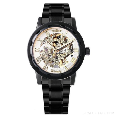 Image of Skeleton Mechanical Watch Stainless Steel Strap 17 Colors - Black White Golden - Custom Made | Free Shipping