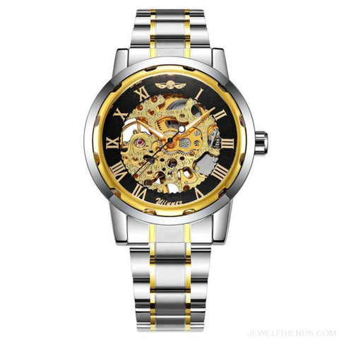 Image of Skeleton Mechanical Watch Stainless Steel Strap 17 Colors - Golden Black - Custom Made | Free Shipping