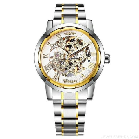 Skeleton Mechanical Watch Stainless Steel Strap 17 Colors - Golden White - Custom Made | Free Shipping