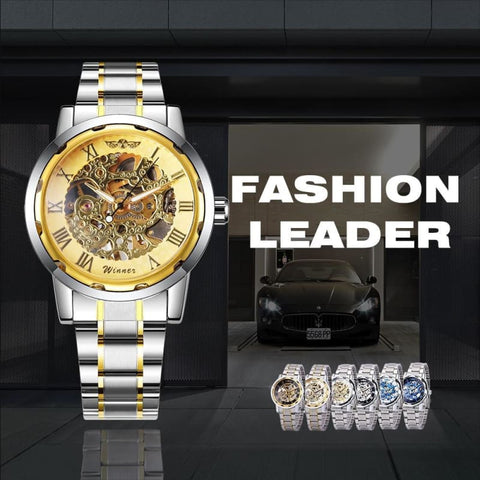 Image of Skeleton Mechanical Watch Stainless Steel Strap 17 Colors - Custom Made | Free Shipping