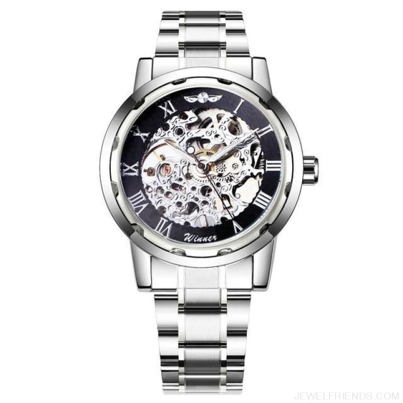 Skeleton Mechanical Watch Stainless Steel Strap 17 Colors - Silver Black - Custom Made | Free Shipping