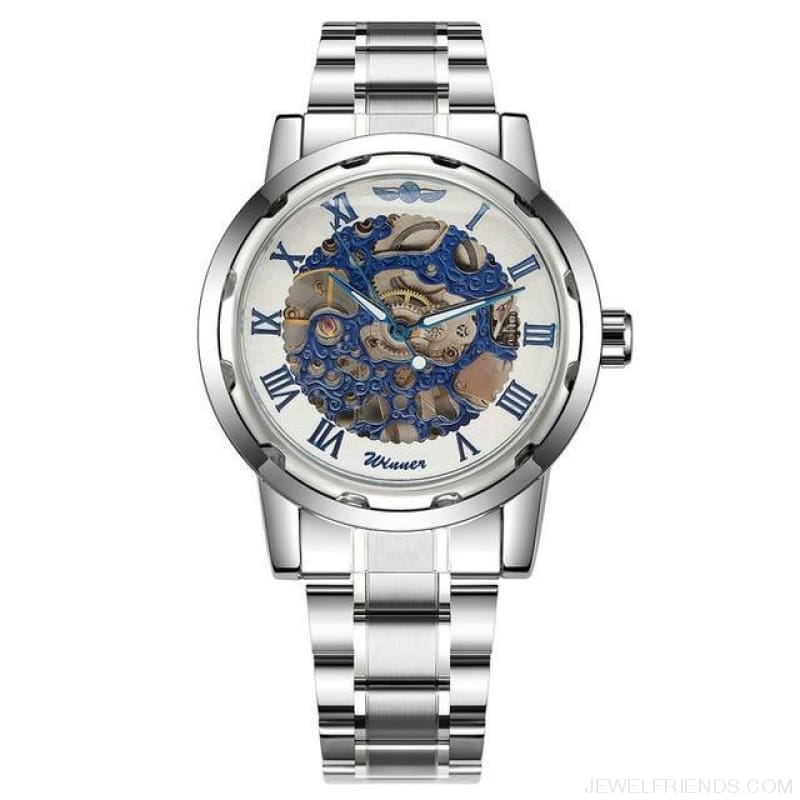 Skeleton Mechanical Watch Stainless Steel Strap 17 Colors - Silver Blue White - Custom Made | Free Shipping