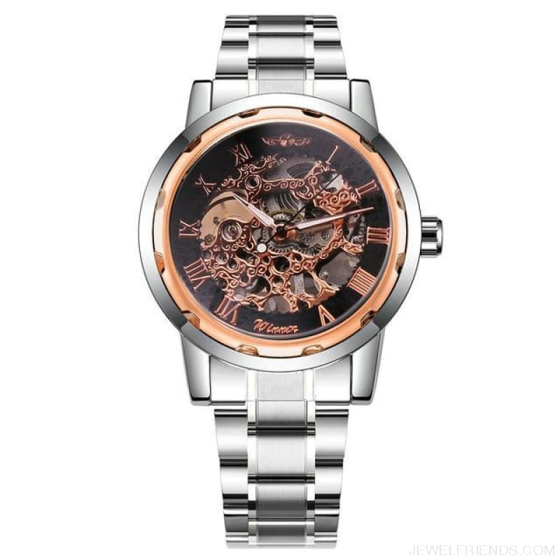 Skeleton Mechanical Watch Stainless Steel Strap 17 Colors - Silver Rose Black - Custom Made | Free Shipping