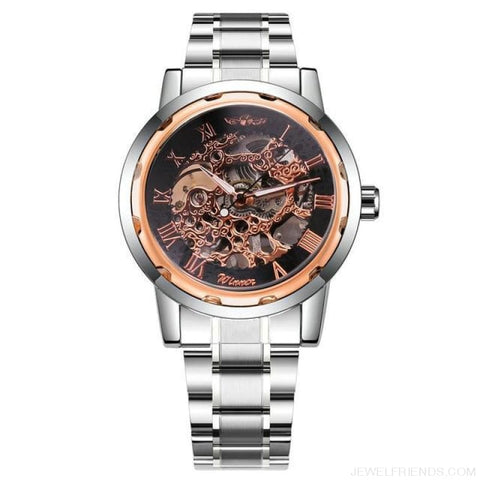 Image of Skeleton Mechanical Watch Stainless Steel Strap 17 Colors - Silver Rose Black - Custom Made | Free Shipping
