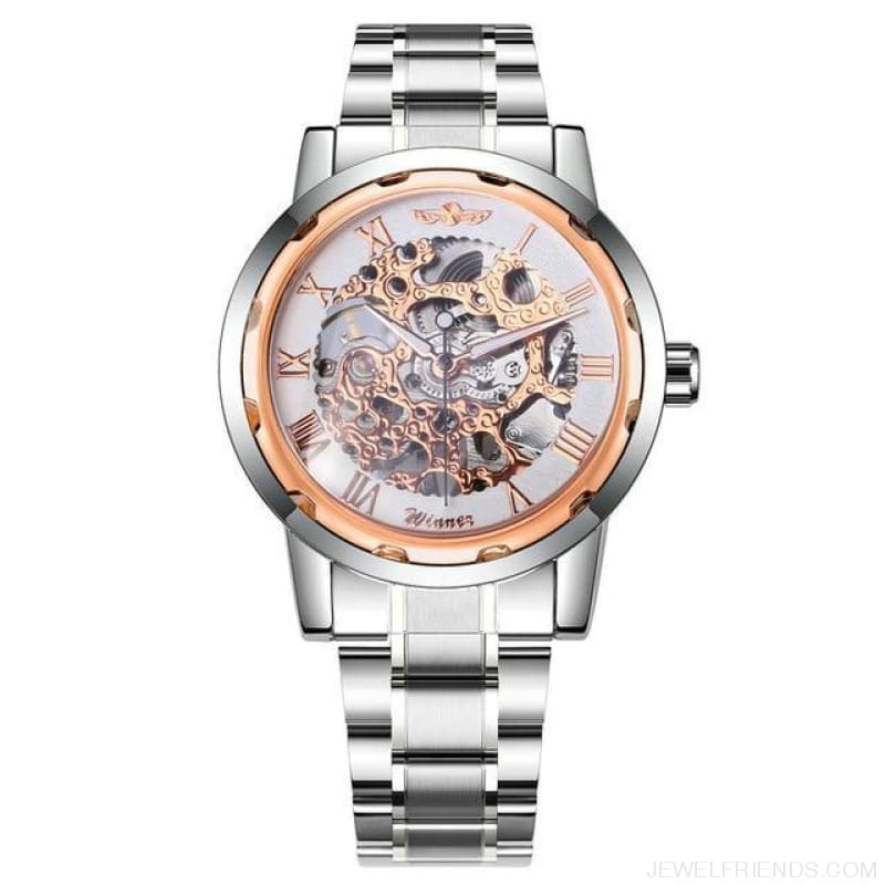 Skeleton Mechanical Watch Stainless Steel Strap 17 Colors - Silver Rose White - Custom Made | Free Shipping