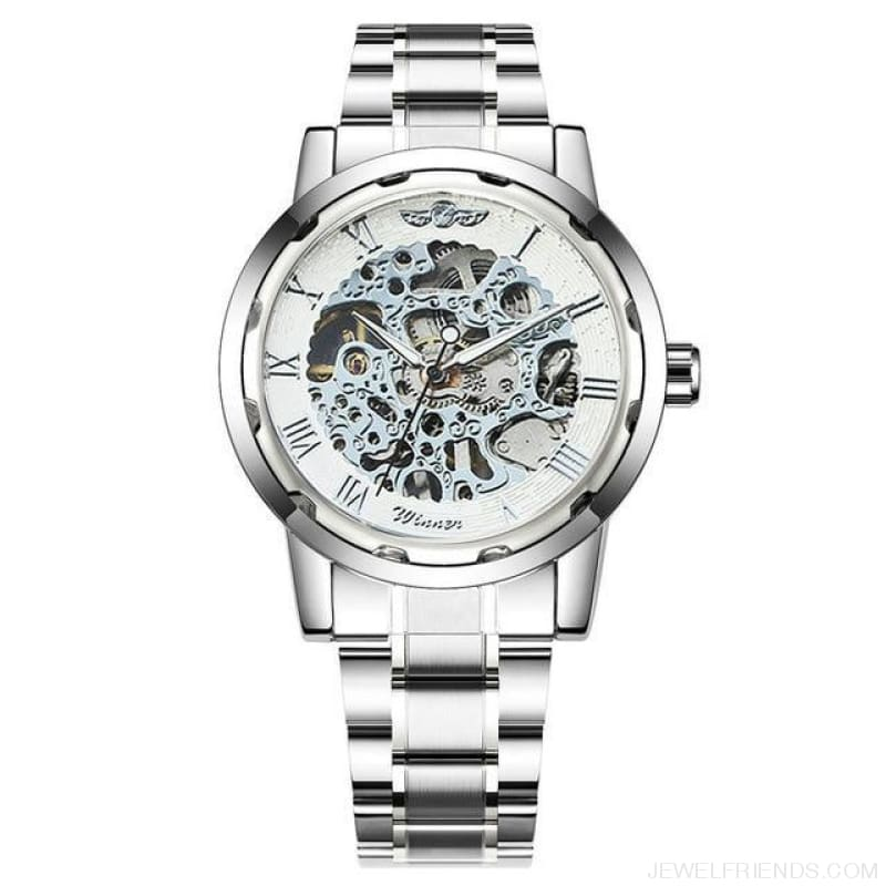 Skeleton Mechanical Watch Stainless Steel Strap 17 Colors - Silver White - Custom Made | Free Shipping