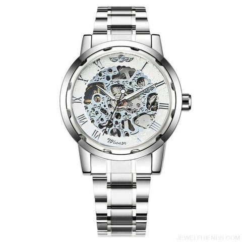 Image of Skeleton Mechanical Watch Stainless Steel Strap 17 Colors - Silver White - Custom Made | Free Shipping