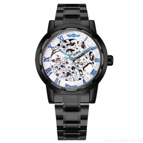 Skeleton Mechanical Watch Stainless Steel Strap 17 Colors - White Blue Silver - Custom Made | Free Shipping