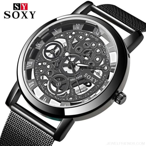 Image of Skeleton Mesh Belt Quartz Watches - Black - Custom Made | Free Shipping